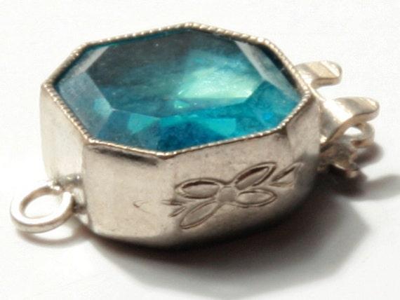 Art Deco Bohemian antique vintage aqua. blue Rhinestone Necklace Bracelet clasp silver tone E711-99