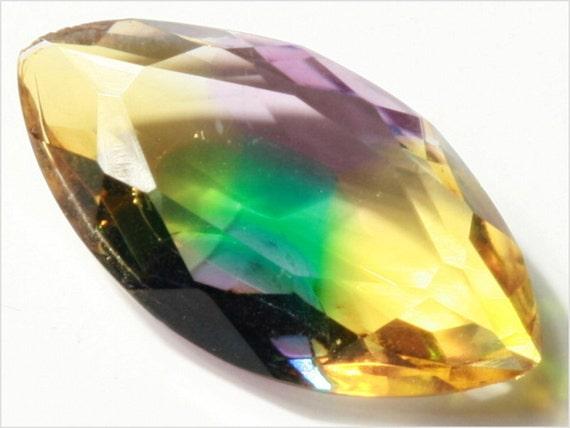 Rare (1) 24 x 13 mm antique vintage czech eye flecked rainbow faceted topaz glass stone jewel E712-9
