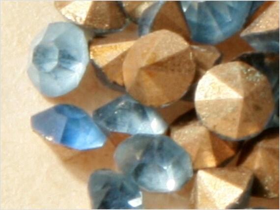LOT 3 mm- ss11 Antique Vintage Czech faceted cut sapphire blue glass Rhinestones E713-5