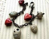 Skullday and Chainday -- rustic handmade ceramics bracelet