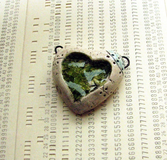 Ceramic steampunk heart pendant with molten peridot green glass, rivets and wire loops