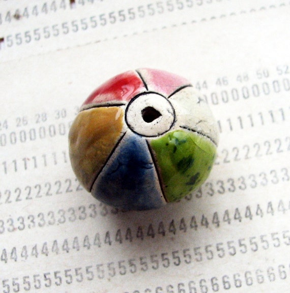 The Harlequin -- large colourful hollow ceramic bead