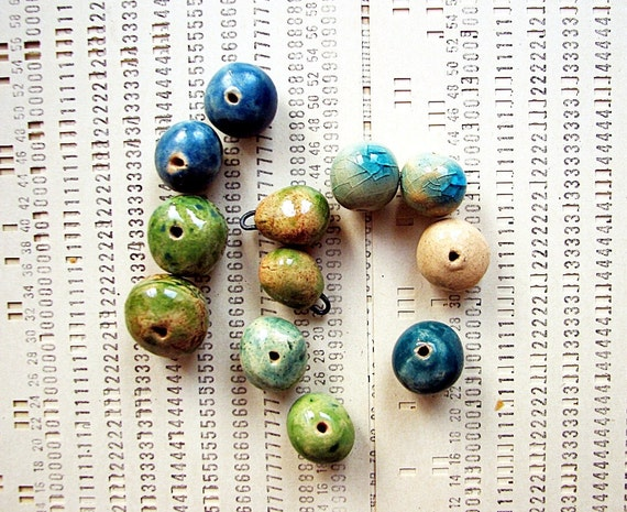Long for the sea - a set of 12 ceramic art beads and pendants in fresh organic colours