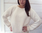 RESERVED - Do not buy -  70s Cream Color Basic Sweater Jumper - S, M - Made in Mexico - Fisherman Knit