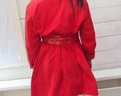 Vintage 60s Lipstick Red Trench Coat - S, M, L - Reversible to Polka Dots - Mod
