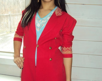 Red Gold Blazer MILITARY Jacket, Band Jacket  Embroidered small, medium