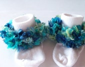 Rag Tag Creations - Blue and Green Embellished Socks, Girls Small, Shoe Size 6-10.5