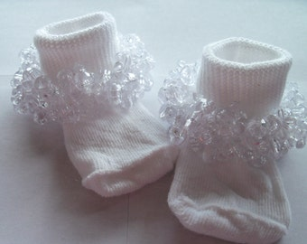 """All Sizes Available, Rag Tag Creations, Girls Socks, Pagent Socks ~ """"Ice Ice Baby"""" Beaded Embellished Socks."""