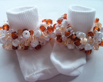 """All Sizes Available """"Rootbeer Float"""" - Embellished Beaded Socks."""
