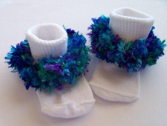Last Pair! Deep Sea Adventure - Rag Tag Creations - Blue Green and Purple Embellished Socks, Girls Small, Shoe Size 6-10.5
