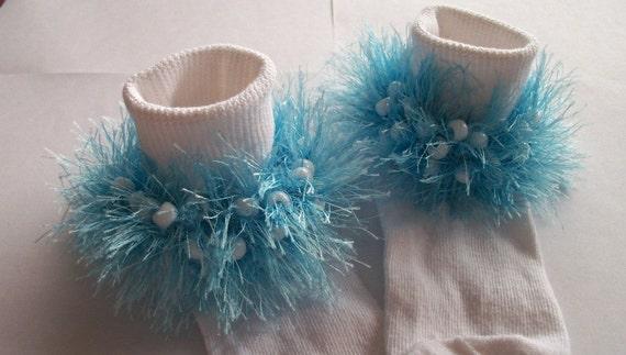 Rag Tag Creations - Light Blue and Pearl Embellished Socks, Girls Medium, Shoe Size 10.5 - 4
