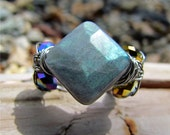 Labradorite Ring, chunky, fashion, square faceted stone, wire work, sparkle, unique