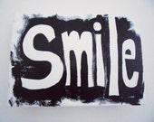 "WordArt: ""Smile"". Acrylic on Canvas block. Words of inspiration, ready to hang. word art. original, inspirational"