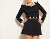 SALE SALE Black Mini Dress in Cheerleader Style - size small