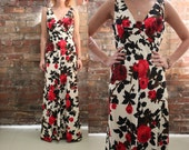 Floral Maxi Evening Gown, c. 1970's - size Medium