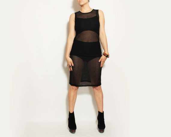 Black Sheer Body Con Dress - Small / Medium