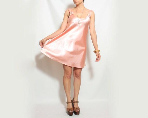 SALE Satin Slip Dress in Light Pink - Medium