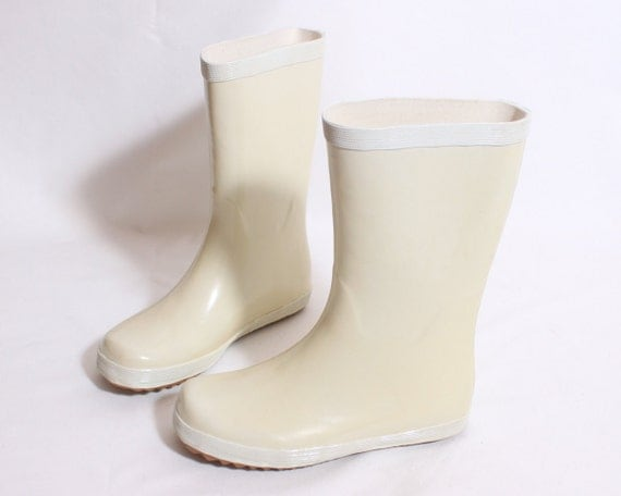 White Rubber Boots by My Design - Size 36