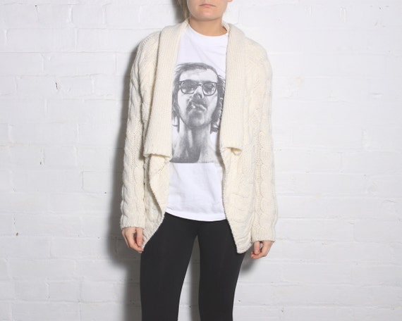 Knit Cardigan Drape Sweater - Tapered Hem in Ivory - Size small