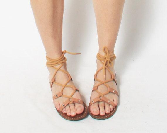 Gladiator Sandals Flip Flops in Tan Leather - size 36 / 6 1.2