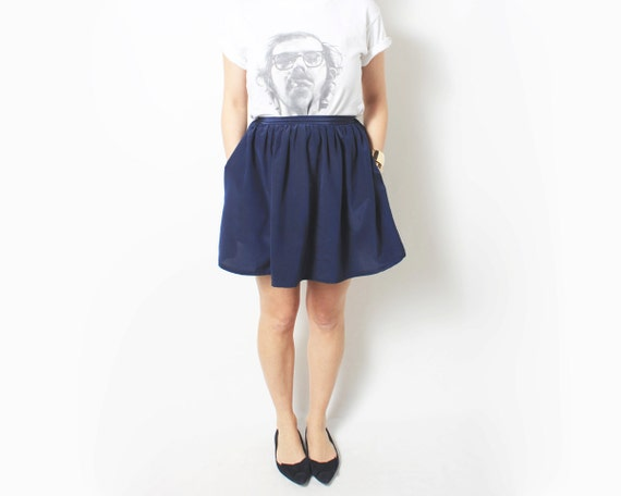 Mini Skirt High Waisted Circle Skirt in Navy Blue - extra small xs sm