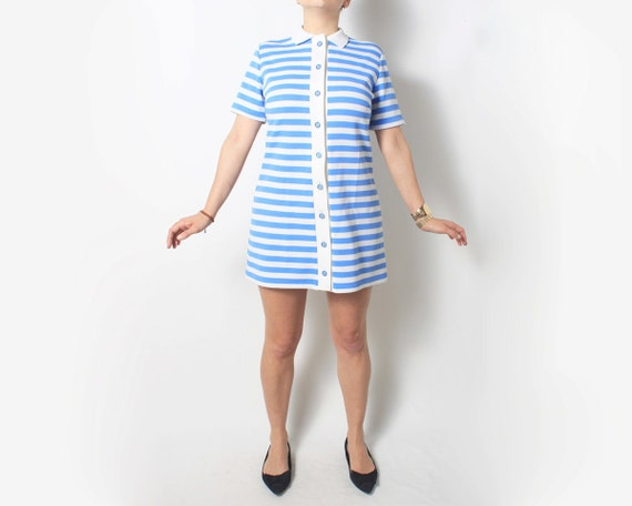 1960's Party Dress in Blue and White Stripes - Mod Retro, medium med