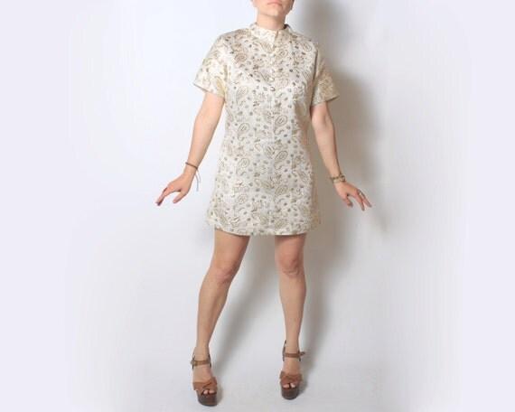 SALE Vintage Dress Oriental Mod Brocade Mini Dress - small sm medium med