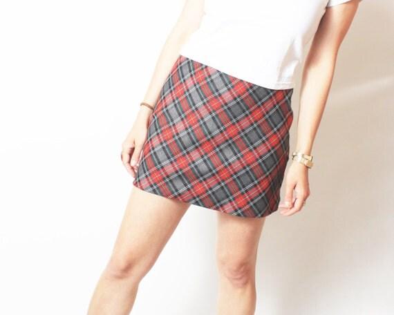 Vintage Mini Skirt Plaid 90's - small sm / medium med