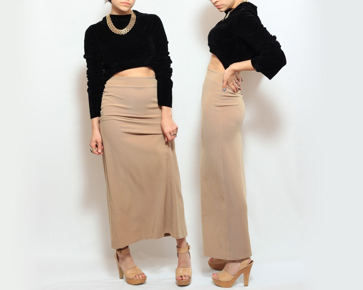 Body Con Maxi High Waist Pencil Skirt in Nude Beige