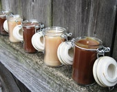 5 Hand Poured Candles in Upcycled Spice Jars