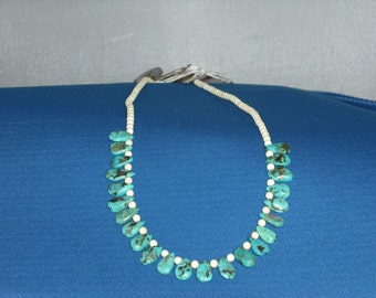 Turquoise Drops and Bone Necklace