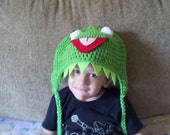 Kermit the Frog inspired hat with earflaps