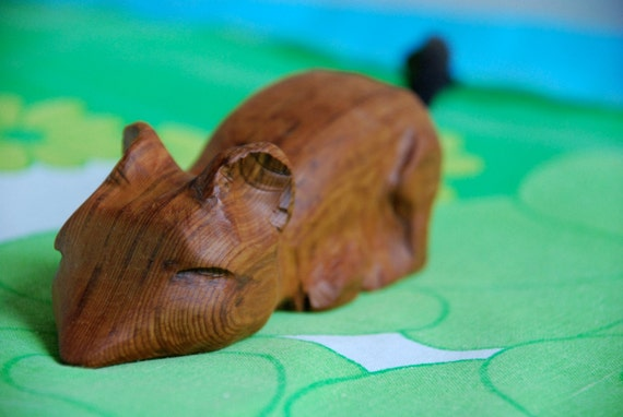 Chester Taking a Nap - Rough Wooden Mouse Carving