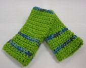 Texting Gloves - Fingerless in Lime Green with Colorful Accents