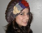 Handmade Retro Crochet Cloche Beret with Quad Color Embellishment