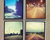 Instagram Photo Ceramic Coasters - Set of Four - Road Trip Series