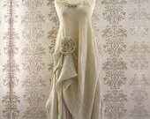 VINDIKA Silk Lace Crepe Ruffle Pearl Flower Feather Drape Romantic Cream Long Dress Size S/M