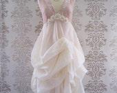 MADEILENA Blush Pink Cream Floral Embroidery Fine Lace Romantic Sculptural Long Dress Size S/M/L