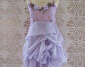 SALE Purple MARGARITTE Sweetheart Floral Romantic Sculptural Short Dress Size S/M
