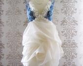 MADEILENA Blue Floral Cream Vintage Lace Romantic Ruffle Sculptural Short Dress Custom Made Size S/M/L