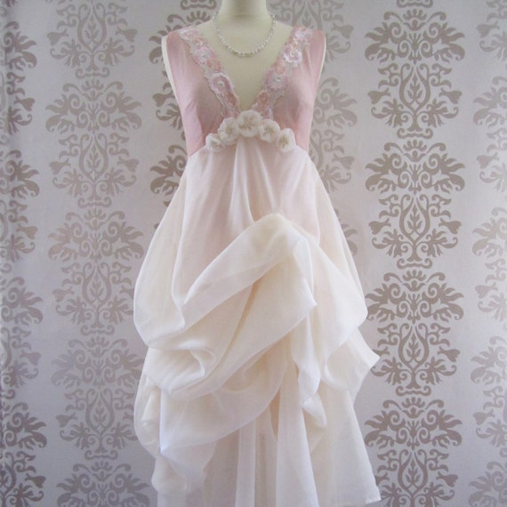 MADEILENA Blush Pink Cream Floral Embroidery Fine Lace Romantic Sculptural Long Dress Custom Size