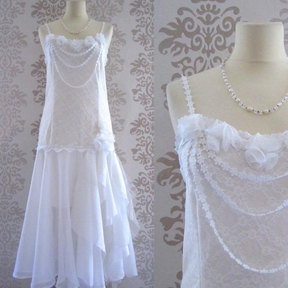 DELPHINE White Floral Lace Pearl Flowers Romantic Flapper Long Dress Custom Size