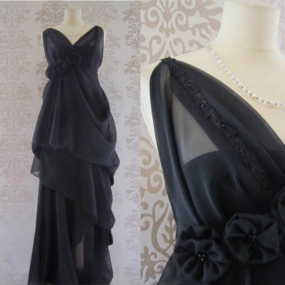 ENYA Handmade Floral Romantic Sculptural Grecian Long Handmade Dress Custom Size