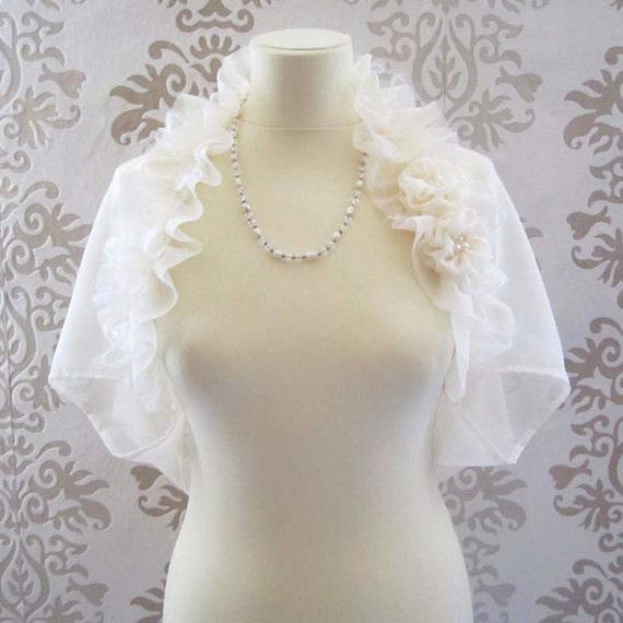 MOZEE Light Cream Ruffle Mohair Rosette Romantic Bridal Short Sleeve Bolero/Shrug