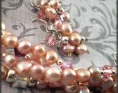 Bracelet Earrings Set Dusty Rose Pink purple amethyst crystal Pearls ONE of a KIND silver Blushing Romantic
