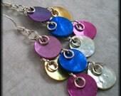 Earrings chandelier funky flirty Blue pink purple fuchsia gold white coin mussel shell in silver -  Assymetry