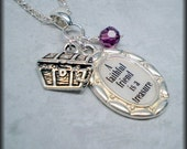 FRIEND Necklace Personalized famous quote saying silver rolo chain treasure chest crystal Say it Softly TREASURES Collection