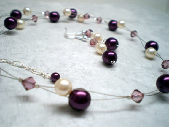 Bridal Party Set amethyst purple aubergine pearls crystals floating illusion style necklace customize colors WISTERIA PEARLS SET