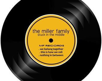 Vinyl Record Album Style Personalized Melamine Plate