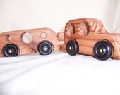 Toy SUV Pulling a Toy Camper Handcrafted from Recycled Wood for Kids